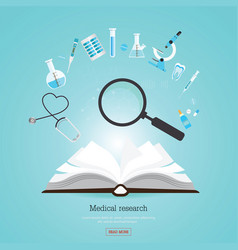 Medical research healthcare with open book vector