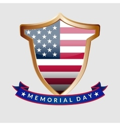 Memorial Day gold shield and ribbon with the vector image
