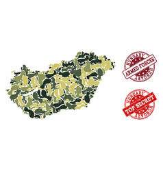military camouflage collage of map of hungary and vector image