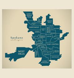 Modern city map - spokane washington city the vector
