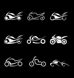 motorcycles icons vector image