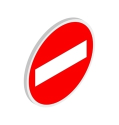 No entry traffic sign icon isometric 3d style vector image