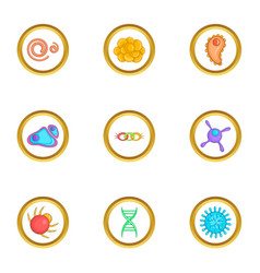 Organism icons set cartoon style vector