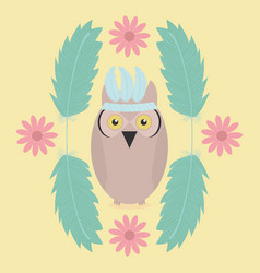 Owl bird with feathers hat and flowers frame vector