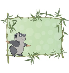 panda with blank sign cartoon vector image