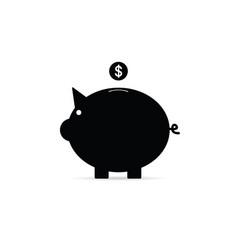 Piggy bank with dollar coin vector