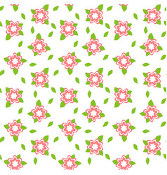 Pink flower seamless abstract pattern on white vector