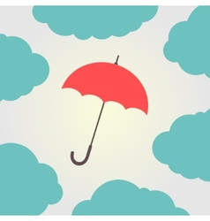 red umbrella surrounded by clouds vector image