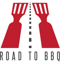 Road to bbq negative space concept vector