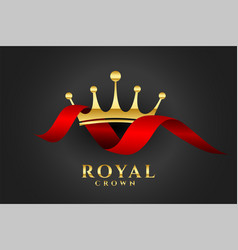 royal crown background with red ribbon vector image
