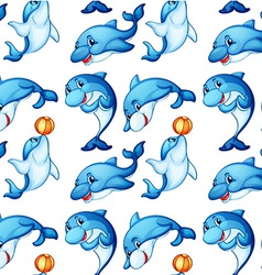 Seamless design of dolphins vector