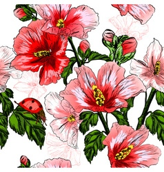 Seamless Floral Pattern with Ladybugs vector image