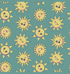 seamless pattern with cute smiling sun vector image