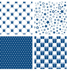 set blue seamless patterns backgrounds vector image