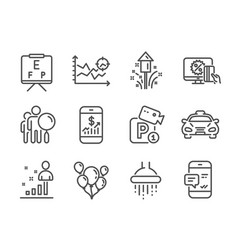Set business icons such as taxi vision board vector