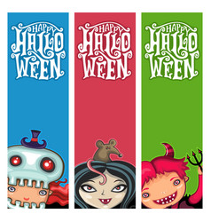 set halloween banners with children vector image
