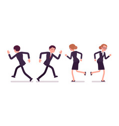 Set of unhappy businessmen runnig rear and front vector