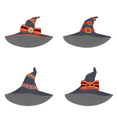 set of unusual witch hats in manga style anime vector image