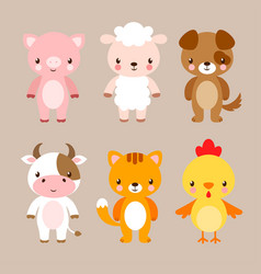 set with cute animals in cartoon style vector image