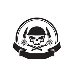 skull army chef emblem logo hold knife vector image