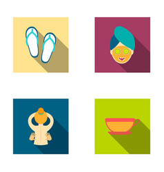 Slippers for the spa salon a girl s face with a vector