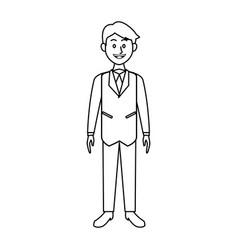 Smiling business man in suit clothes standing vector