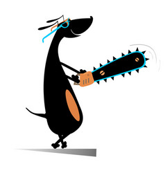 Smiling dog with chainsaw vector