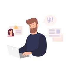 Smiling man sitting at computer and using dating vector