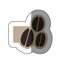Sticker monochrome emblem with coffee beans vector