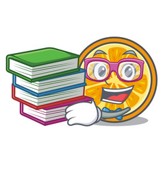 student with book orange mascot cartoon style vector image