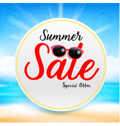 Summer sale titile text on white circle frame vector