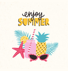summertime composition with fresh cocktail vector image
