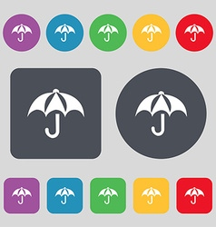 Umbrella icon sign A set of 12 colored buttons vector