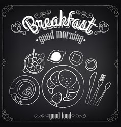 vintage poster breakfast croissant and tea vector image