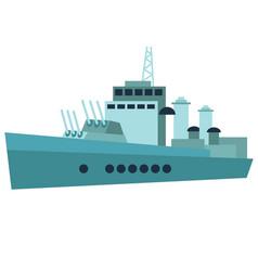 Warship flat on white vector