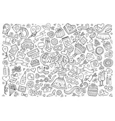 Wedding and love doodles sketchy symbols vector image