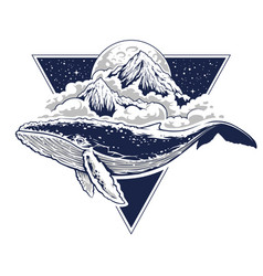 whale surreal art vector image