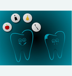 Whitening human tooth vector
