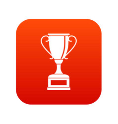 winning gold cup icon digital red vector image