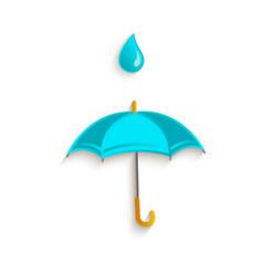 cartoon umbrella with rain drop symbol vector image