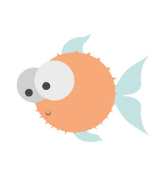 light colours silhouette of blowfish with big eyes vector image