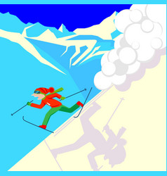 man escaping from snow avalanche in mountains vector image vector image