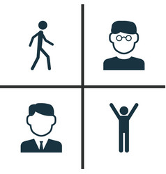 person icons set collection of work man vector image vector image