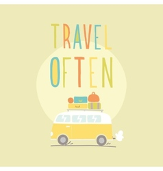 Travel often Van with a lot of luggage vector image vector image