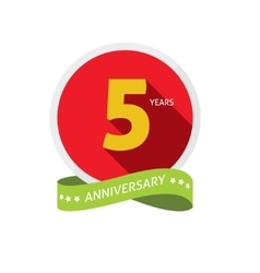 Anniversary 5th logo badge template with shadow vector image vector image