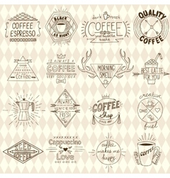 Collection of hipster sketchy coffee labels vector image