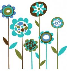 cute retro flowers vector image