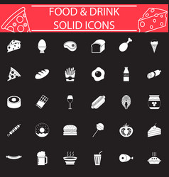food and drink solid icon set vector image vector image