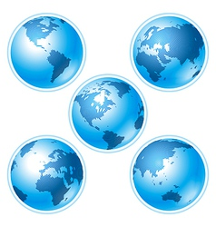 set of five globes vector image vector image