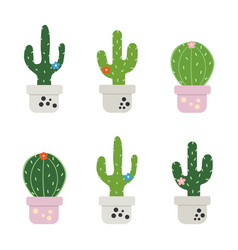 set of funny cactus vector image vector image